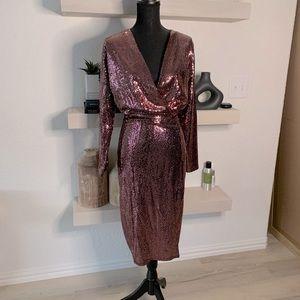 Boohoo Sequin Faux Wrap Midi Dress Rose US 12